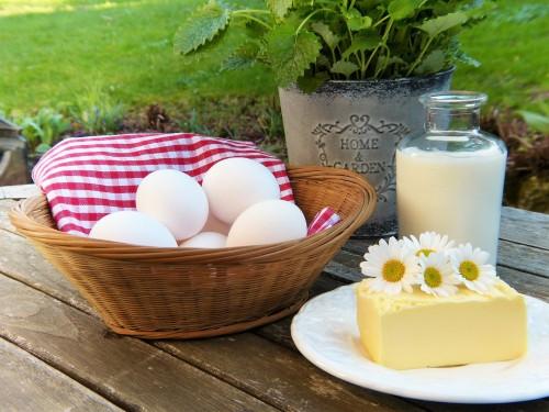 eierkorb teller mit stück butter milchkanne
